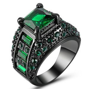 3CT Vintage Princess Cut Emerald Engagement Ring 7
